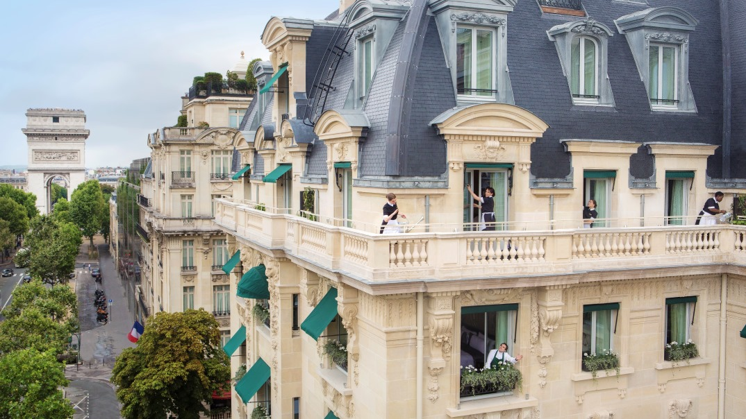 Pageboys at the entrance of The Peninsula Paris